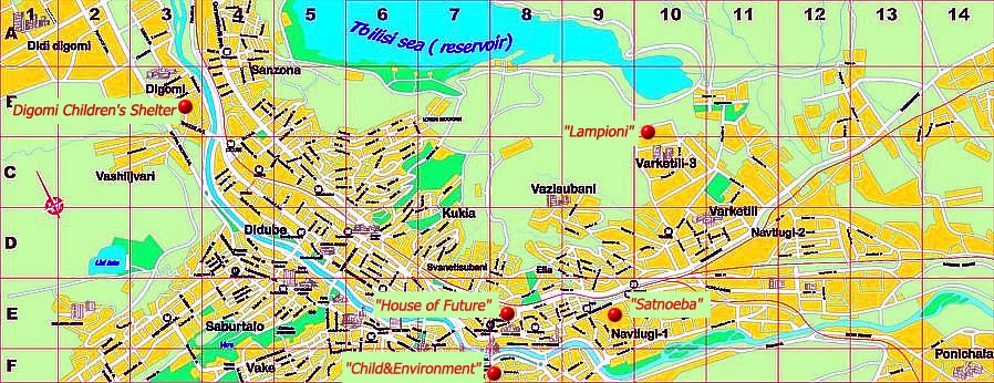 Map of charity activities of the Genesis Association in Tbilisi